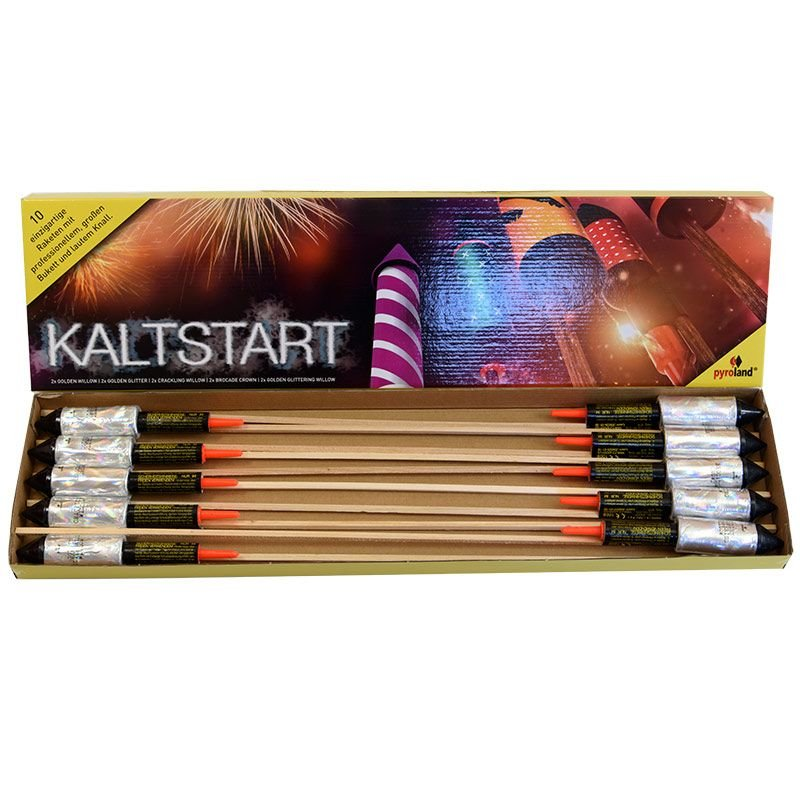 Kaltstart - Raketen-Sortiment 10 einzigartige Raketen mit professionellem, gro�en Bukett und lautem Knall. 2 x Golden Willow 2 x Golden Glitter 2 x Brocade Crown 2 x Golden Glittering Willow 2 x Crackling Willow