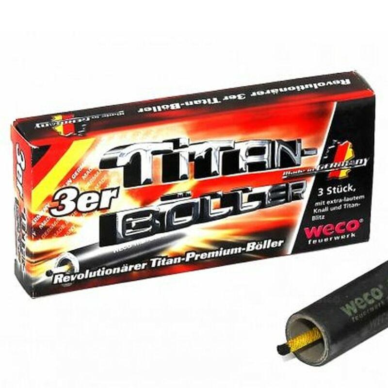 Titan-Böller 3 Stück Premium-Böller mit neuartigem, großen Titan-Funkenblitz und lautem Knall. Qualität und Sicherheit - Made in Germany
