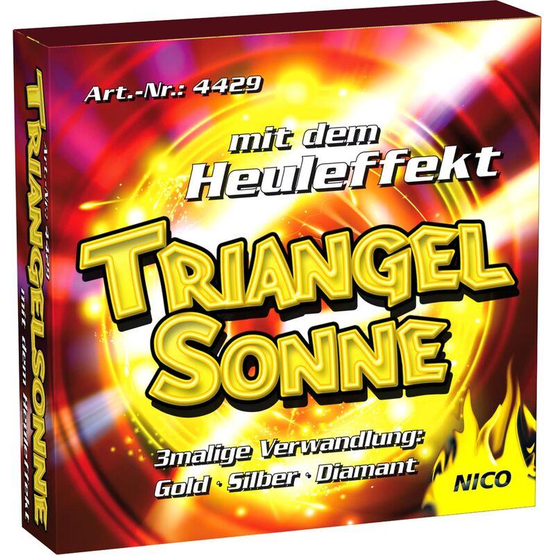Triangelsonne Leuchtfeuerwerk mit dreimaliger Verwandlung in Gold, Diamant und Silber und superlautem Heuleffekt.