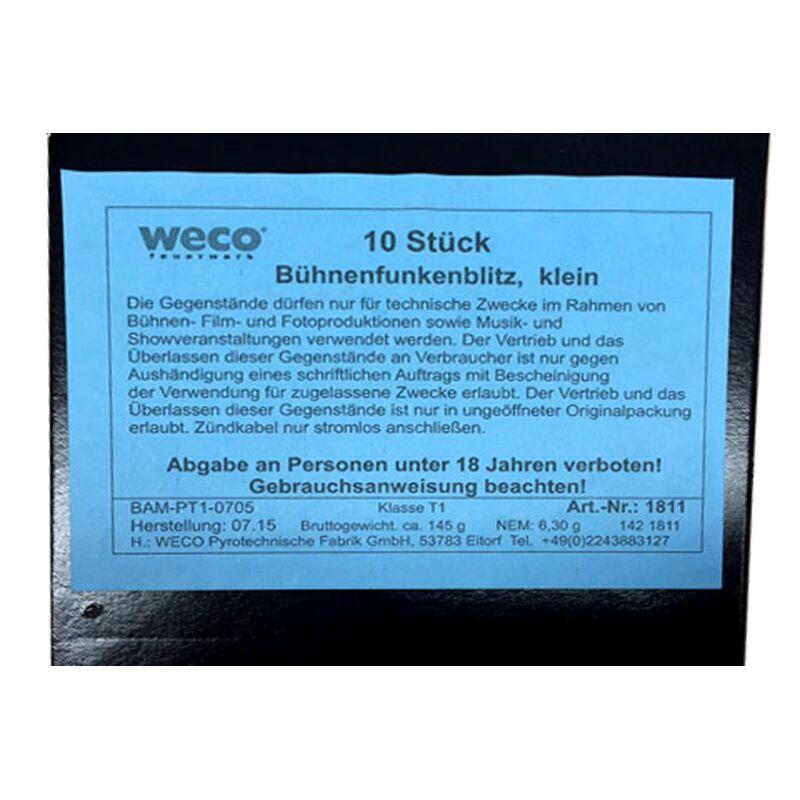 Weco B�hnenfunkenblitz klein, 10 Stk Intensiver Lichtblitz mit einer Wolke aus knisternden Silberfunken. Durchmesser ca. 60cm, ideal als �berraschungseffekt mit Sound-Untermalung, geeignet bei geringen Sicherheitsabst�nden. 1 Pack � 10 St�ck