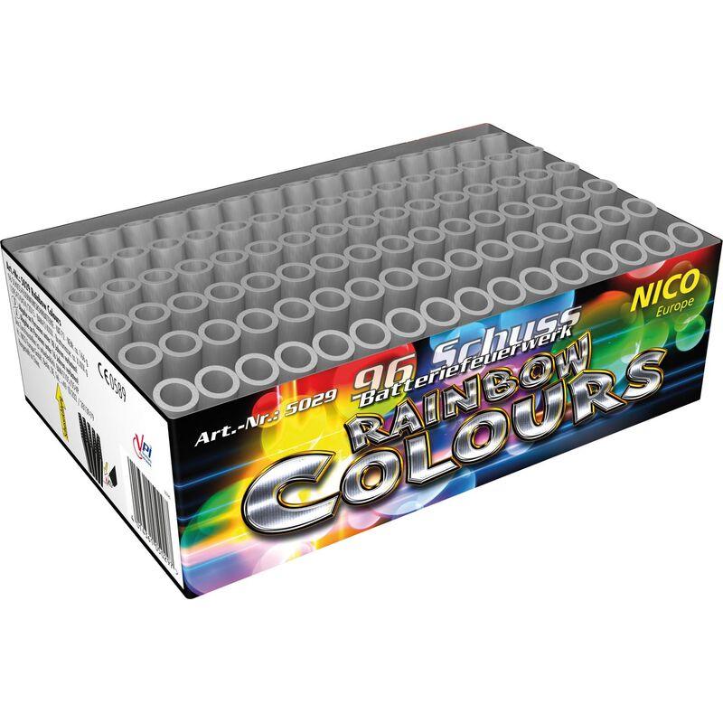 Rainbow Colours 96-Schuss-Feuerwerk-Batterie In schneller Abfolge gesteppt nacheinander gefächert aufsteigende rote, gelbe, grüne, blaue und violette Leuchtsterne.