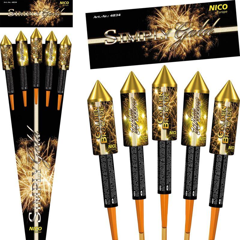 Simply Gold 5-teiliges-Raketensortiment 5-teiliges Raketensortiment, 2-fach sortiert. Exklusive Raketen mit ausgewählten Gold-Effekten und lautstarker Zerlegung!