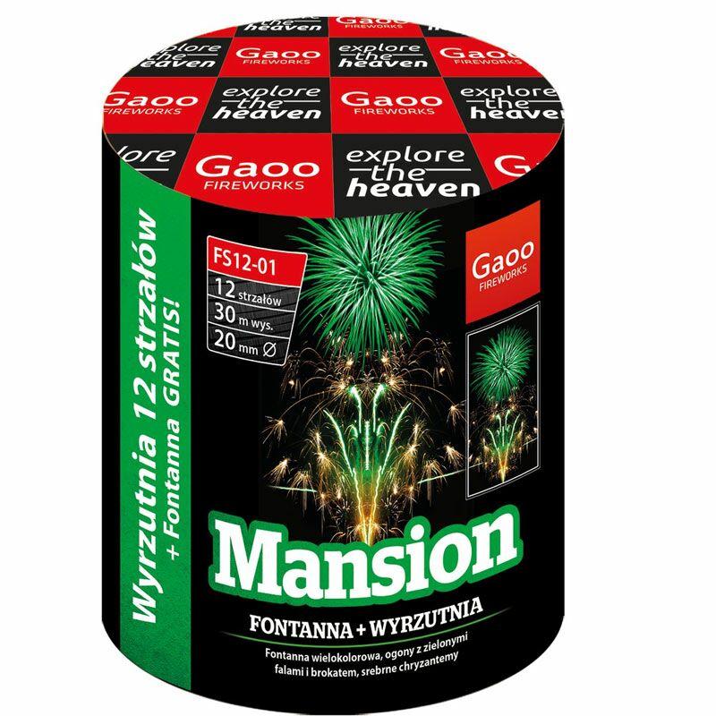 Mansion 12-Schuss-Feuerwerk-Batterie Fontänenbatterie mit Multi-Colour-Effekten, Leuchtkugelaufstieg mit grünen Welleneffekten und Brokat, Leuchtintensive silberne Chrysanthemen-Effekte.