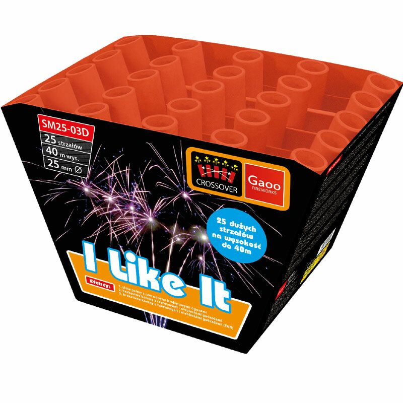 I Like It 25-Schuss-Feuerwerk-Batterie  Goldene Palmen-Buketts mit Brokat- Schweifaufstiegen in Rot (CROSSOVER) Brokat-Kronen-Buketts mit roten und blauen Sternen (CROSSOVER) Brokat-Kronen-Buketts mit roten und blauen Sternen (FAN)