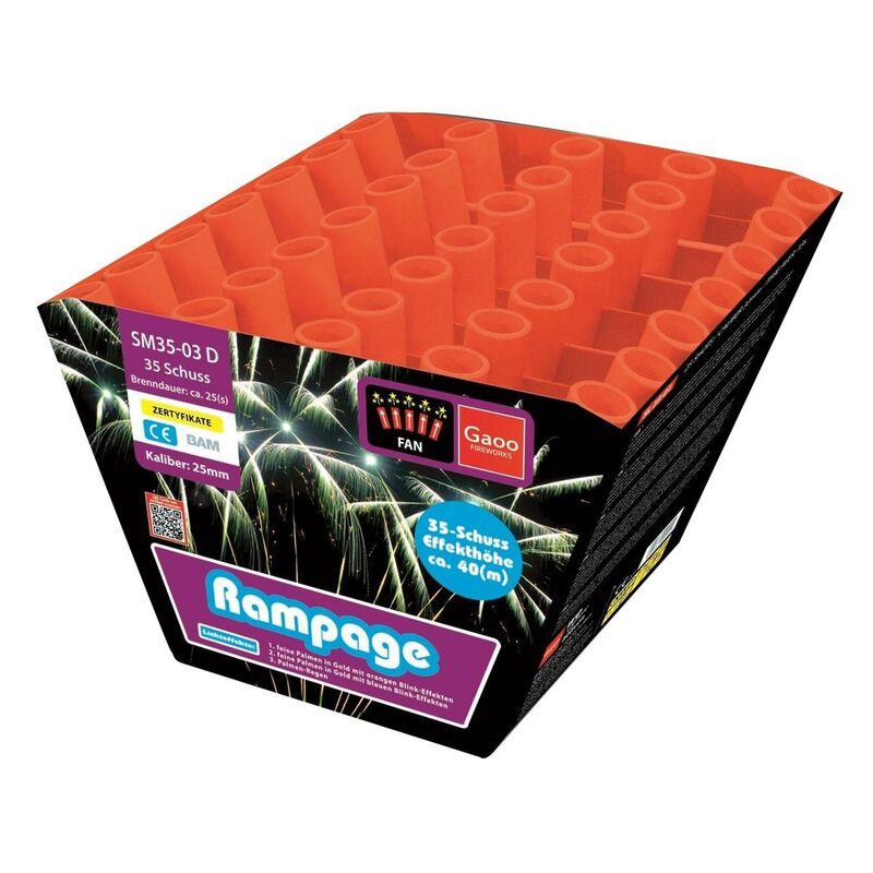 Rampage 35-Schuss-Feuerwerk-Batterie  1. Feine Palmen in Gold mit orangen Blink-Effekten 2. Feine Palmen in Gold mit blauen Blink-Effekten 3. Palmen-Regen