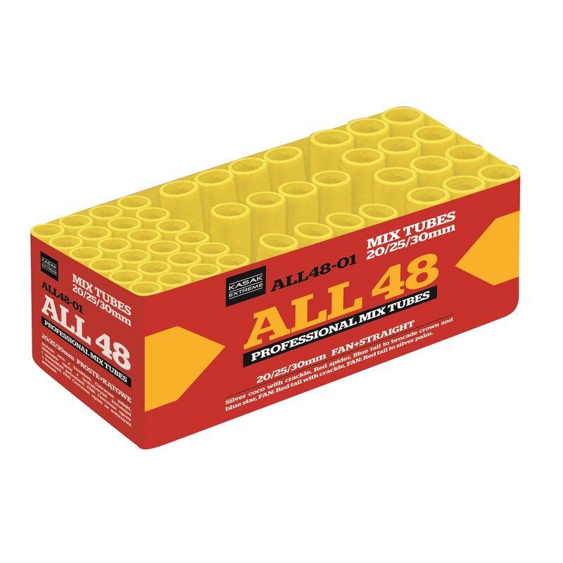 ALL48 48-Schuss-Feuerwerk-Batterie Sch�ne Buketts mit Cracklingzentrum und roten Spitzen, dazu gro�e Brokatbuketts und einem 3er Salven Schweifaufstig mit roten Spitzen und Brokat-Effekten als Finale