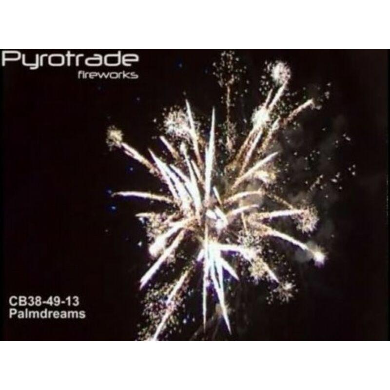Palmdreams 25-Schuss-Feuerwerk-Batterie Chrysantehmum Coconut, Blue Pearlund Green Glittering, kleines Finale