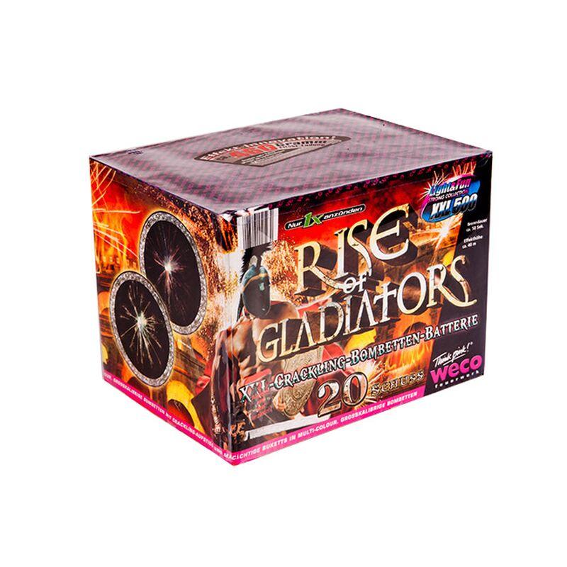 Coroner (Rise of gladiators, Iron Man) 20-Schuss-Feuerwerk-Batterie Neuartige Feuerwerks-Kombination mit bis zu 500 Gramm Effektmenge! Wuchtige Bombettenabsch�sse mit Knatterstern-Aufstieg und m�chtigen Brillant-Buketts in Rot, Gr�n, Blau, Violett und Gelb, immer mit lautem Knall.