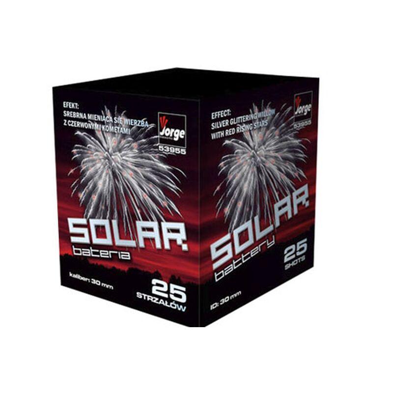 Solar 25-Schuss-Feuerwerk-Batterie Silber Flimmerweide mit roten Flimmersternen mit roten Sternen.