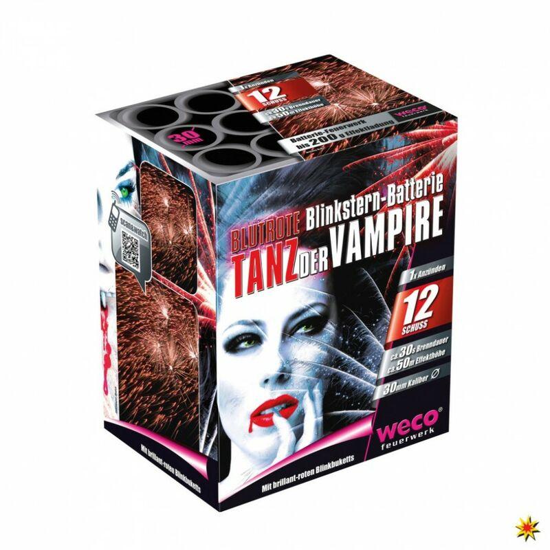 Tanz der Vampire (Tiger, Mad Max,Champion,Tyr) 12-Schuss-Feuerwerk-Batterie Großkalibrige Bombetten mit brillant-rotem Blinkbukett und kräftigem Knall. (Batterie mit verschiedenen Labeln)