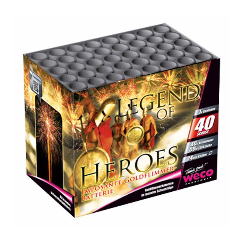Legend of Heroes 40-Schuss-Feuerwerk-Batterie Neuartige Feuerwerks-Kombination mti bis zu 500 Gramm Effektmenge! Herrlich filigrane Goldkomenten mit großem Brokat-Buketts.