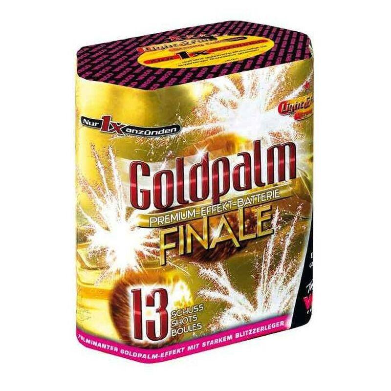 Goldpalm Finale 13-Schuss-Feuerwerk-Batterie Mit großkalibrigen Abschüssen und prächtigem Goldpalmenbukett - immer mit kräftigem Knall.