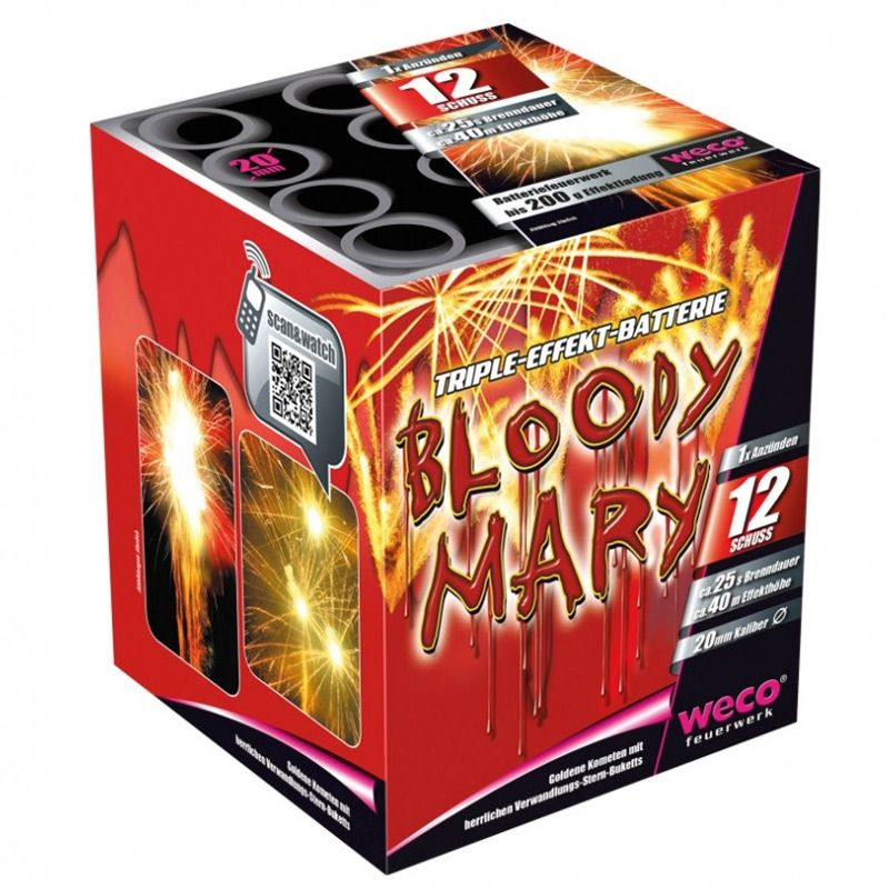 Bloody Mary 12-Schuss-Feuerwerk-Batterie Brilliantgoldene Kometen mit Verwandlungsbukett in weißflimmer-blinkgrün, blau-silber und silber-bunt im Wechsel geschossen mit Knall.