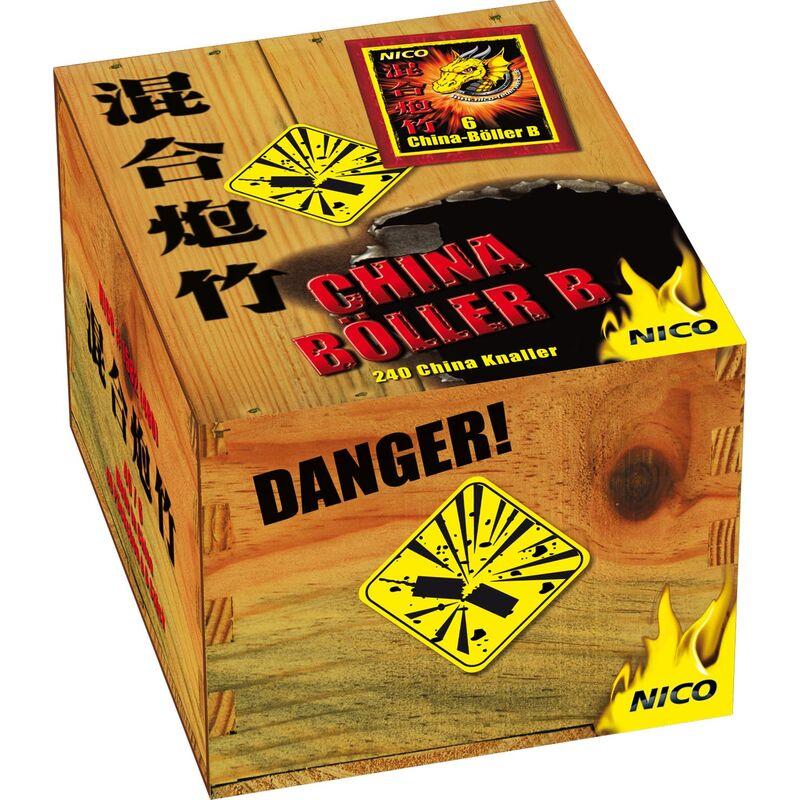 """Nico China-Böller B Total verknallt - klassischer China-Böller mit lautem Knalleffekt. 80 Stück Knallkörper zylindrisch mit Anzündschnur. Steigerung der Lautstärke ist Anhand der Bezeichnung A, B, C, D, I, II zu erkennen. Von """"A"""" = laut bis """"II"""" = extrem laut 1 Schinken á 4 Packungen á 20 Stück"""