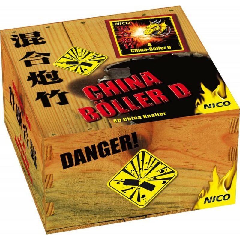 "Nico China-Böller D 80 Stück Total verknallt - klassischer China-Böller mit lautem Knalleffekt. 80 Stück Knallkörper zylindrisch mit Anzündschnur. Steigerung der Lautstärke ist Anhand der Bezeichnung A, B, C, D, I, II zu erkennen. Von ""A"" = laut bis ""II"" = extrem laut 1 Schinken á 20 Packungen á 4 Stück"