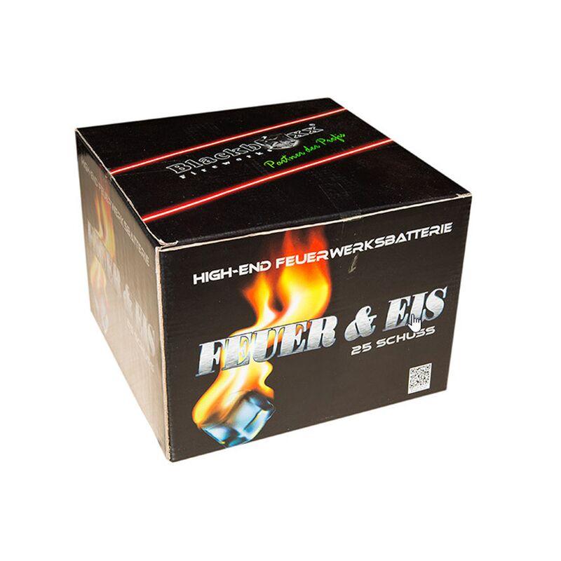 Feuer & Eis 25-Schuss-Feuerwerk-Batterie Knallrote Kometen zerlegen nach Aufstieg in riesige Buketts aus lang stehenden, silbernen Blinksternen in Kombination mit leuchtend roten Dahlien.