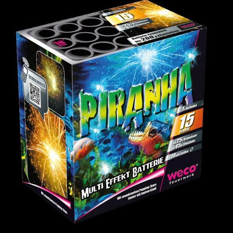 Alligator (Shark Attack/Piranha) 15-Schuss-Feuerwerk-Batterie Mit f�nffacher Verwandlung. Goldene und farbige Palmsterne kombiniert mit Crackling, immer mit kr�ftigem Knall.