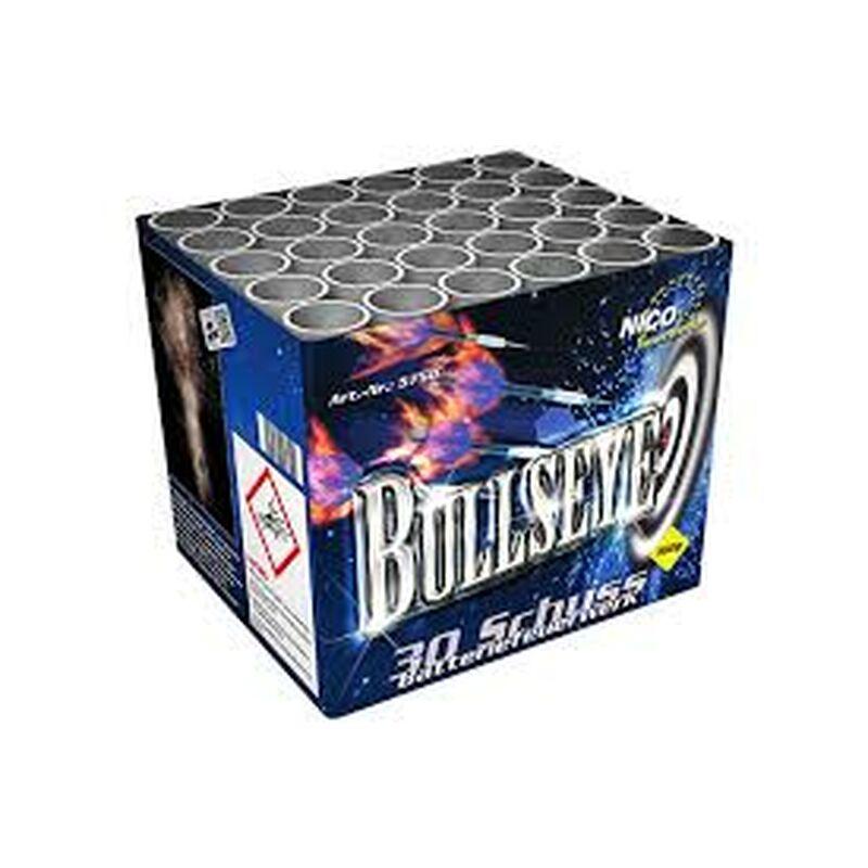 Bullseye 30-Schuss-Feuerwerk-Batterie 30 Schuss, nacheinander mit drehendem Silberschweif aufsteigende Effektschüsse mit anschließender lautstarker Verwandlung zu silbernen Knattersternbuketts, endend in einem Finale aus 5 Effekten.