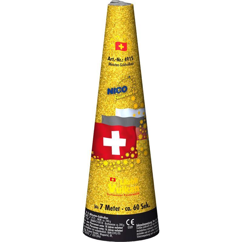 Schweizer Minuten-Goldvulkan Leuchtfeuerwerk - Professionelles Qualitätsfeuerwerk aus der Schweiz. Mit grüner Flamme beginnender hoch spühender Gold-Flimmer-Vulkan.