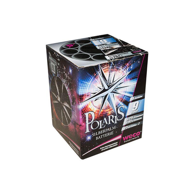 Polaris 9-Schuss-Feuerwerk-Batterie Hochsteigende, smaragdgrüne Brillantkometen mit mächtigen Silberpalm-Buketts und Cracklingstars.