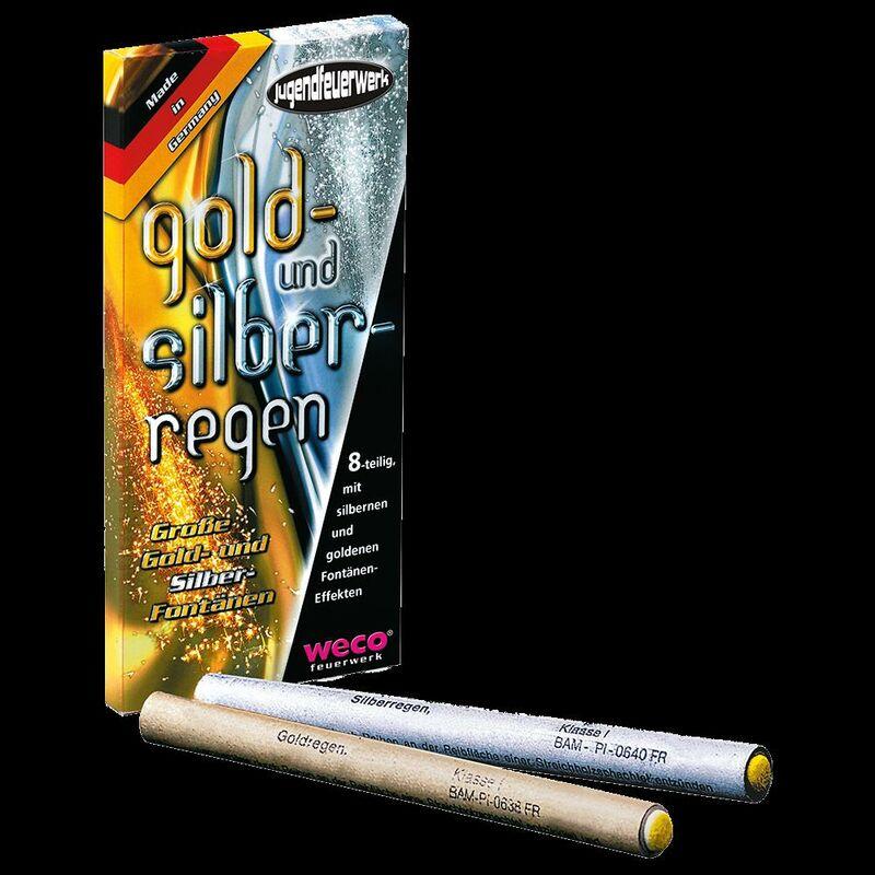 Gold- und Silberregen Fontäneneffekte 8-teilig - jeweils vier große Fontänen mit herrlichen silbernen und goldenen Sprüheffekten. Qualität Made in Germany!