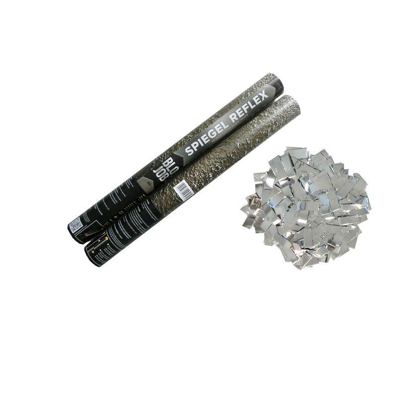 """Spiegel Reflex 50cm Metallicflitter silber Silber Metallic Flitter """"Eitelkeit ist eindeutig meine Lieblingssünde"""" sagt der Teufel in einem Hollywood-Klassiker. Für alle, die nicht genüg Spiegel in der Bude haben - oder zu viele Freundinnen, die das Bad blockieren - """"SPIEGELREFLEX"""" ist die Lösung! Reflexartig lösen sich nach dem Dreh an unserem Shooter tausende Stücke Spiegelfolie und entfalten sich zum Traum einer jeden Diva. Fühl Dich wie ein Star! Tanze im schimmernden Regen, heirate die Lokomotive aus """"Starlight-Express""""! Oder falls Du schon immer wissen wolltest ob der/die geheimnisvolle Fremde den/die Du heimlich um Mitternacht auf dem Friedhof triffst wirklich ein Mensch ist - """"Spiegel Reflex"""" ist die Lösung! Kleiner Tipp: Vampire haben kein Spiegelbild ? Dieser Artikel darf bei keiner Hochzeit fehlen! Auch nicht zum Jubiläum, der silbernen oder goldenen Hochzeit! Und wer will nicht zum Valentinstag eine ausgefallene Überraschung bekommen. Eine Hochzeit ohne romantisches Feuerwerk, das geht doch gar nicht! Die Füllung ist schwer entflammbar gem. DIN 4102-1/B1 Kein Spielzeug und keine Pyrotechnik! Behälter schießt mit Druckluft. Abgabeempfehlung: 12 Jahre"""
