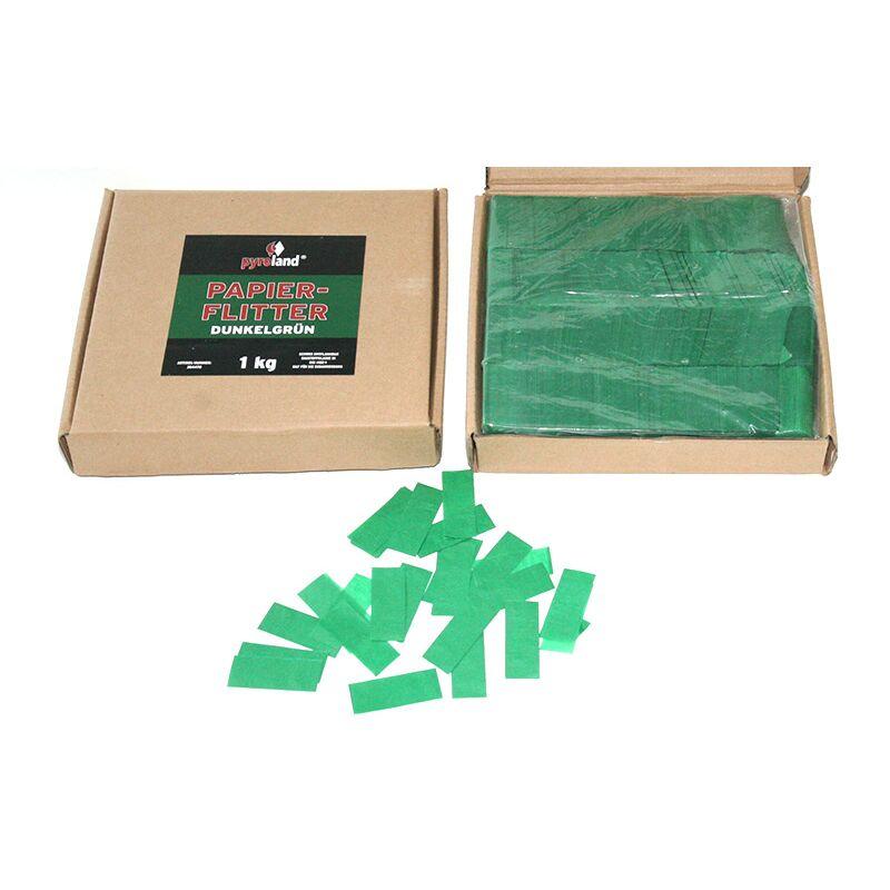 Papier Flitter - Dunkelgr�n 1kg (Pappschachtel) F�r professionelle Konfetti-Kanonen im In- und Outdoorbereich. Eignet sich hervorragend zur Dekoration und kann bei Feierlichkeiten auch sehr gut geworfen werden. Schwer entflammbar gem. DIN 4102-1/B1 Zertifikat: B1 Gr��e: 50x30mm Inhalt: 1 Kg Verpackung: Pappschachtel Material: Seidenpapier