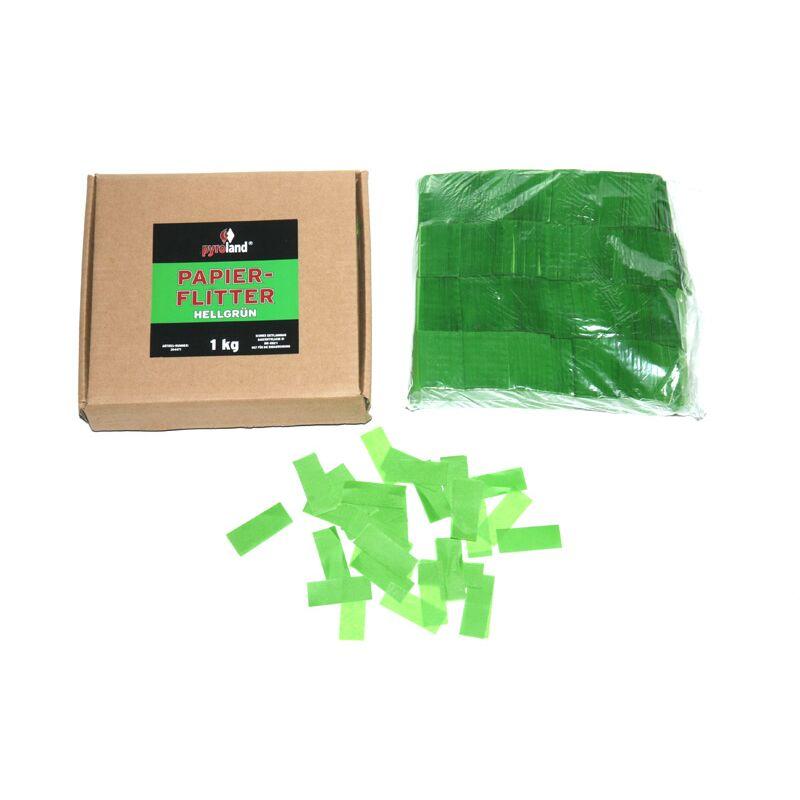 Papier Flitter - Hellgrün 1kg (Pappschachtel) Für professionelle Konfetti-Kanonen im In- und Outdoorbereich. Eignet sich hervorragend zur Dekoration und kann bei Feierlichkeiten auch sehr gut geworfen werden. Schwer entflammbar gem. DIN 4102-1/B1 Zertifikat: B1 Größe: 50x30mm Inhalt: 1 Kg Verpackung: Pappschachtel Material: Seidenpapier