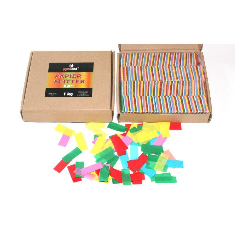 Papier Flitter - Bunt 1kg (Pappschachtel) Für professionelle Konfetti-Kanonen im In- und Outdoorbereich. Eignet sich hervorragend zur Dekoration und kann bei Feierlichkeiten auch sehr gut geworfen werden. Schwer entflammbar gem. DIN 4102-1/B1 Zertifikat: B1 Größe: 50 x 20 mm Inhalt: 1 Kg Verpackung: Pappschachtel Material: Seidenpapier