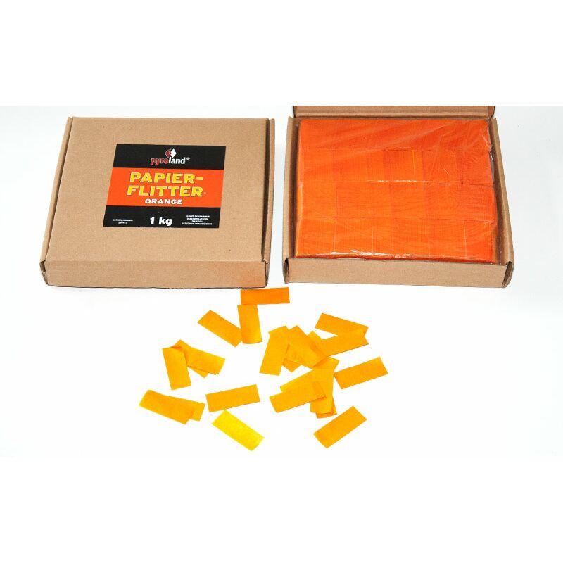 Papier Flitter - Orange 1kg (Pappschachtel) F�r professionelle Konfetti-Kanonen im In- und Outdoorbereich. Eignet sich hervorragend zur Dekoration und kann bei Feierlichkeiten auch sehr gut geworfen werden. Schwer entflammbar gem. DIN 4102-1/B1 Zertifikat: B1 Gr��e: 50 x 20 mm Inhalt: 1 Kg Verpackung: Pappschachtel Material: Seidenpapier