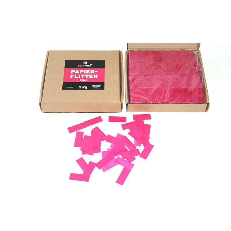 Papier Flitter - Pink 1kg (Pappschachtel) Für professionelle Konfetti-Kanonen im In- und Outdoorbereich. Eignet sich hervorragend zur Dekoration und kann bei Feierlichkeiten auch sehr gut geworfen werden. Schwer entflammbar gem. DIN 4102-1/B1 Zertifikat: B1 Größe: 50 x 20 mm Inhalt: 1 Kg Verpackung: Pappschachtel Material: Seidenpapier