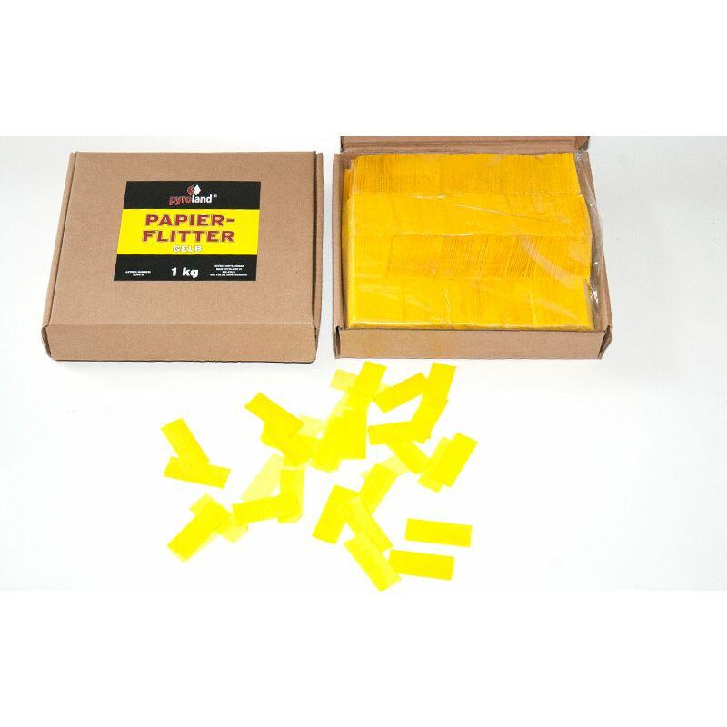 Papier Flitter - Gelb 1kg (Pappschachtel) Für professionelle Konfetti-Kanonen im In- und Outdoorbereich. Eignet sich hervorragend zur Dekoration und kann bei Feierlichkeiten auch sehr gut geworfen werden. Schwer entflammbar gem. DIN 4102-1/B1 Zertifikat: B1 Größe: 50x30mm Inhalt: 1 Kg Verpackung: Pappschachtel Material: Seidenpapier