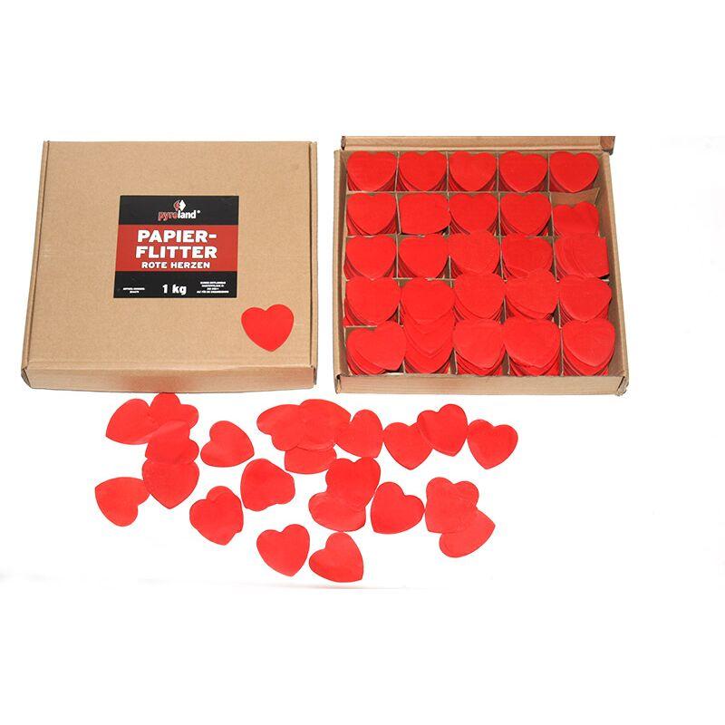 Papier Flitter - Rote Herzen 1kg (Pappschachtel) Für professionelle Konfetti-Kanonen im In- und Outdoorbereich. Eignet sich hervorragend zur Dekoration und kann bei Feierlichkeiten, z.B. Hochzeiten auch sehr gut geworfen werden. Schwer entflammbar gem. DIN 4102-1/B1 Zertifikat: B1 Größe: Ø50mm Inhalt: 1 Kg Verpackung: Pappschachtel Material: Seidenpapier