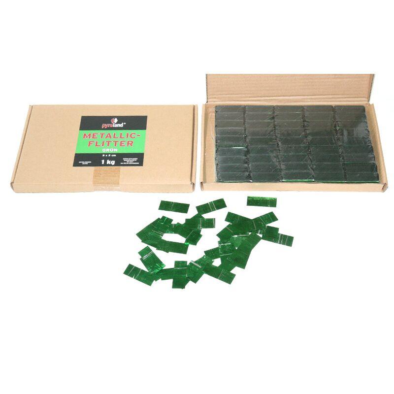 Metallic Flitter - Gr�n 1kg (Pappschachtel) F�r professionelle Konfetti-Kanonen im In- und Outdoorbereich. Eignet sich hervorragend zur Dekoration und kann bei Feierlichkeiten auch sehr gut geworfen werden. Mit aufregendem Metallic-Effekt. Schwer entflammbar gem. DIN 4102-1/B1 Zertifikat: B1 Gr��e: 50 x 20 mm Inhalt: 1 Kg Verpackung: Pappschachtel Material: Metallic-Folie