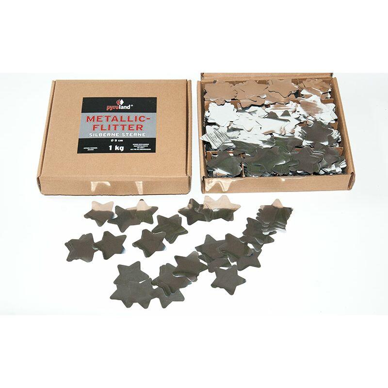 Metallic Flitter - Silberne Sterne 1kg (Pappschachtel) Für professionelle Konfetti-Kanonen im In- und Outdoorbereich. Eignet sich hervorragend zur Dekoration und kann bei Feierlichkeiten auch sehr gut geworfen werden. Mit aufregendem Metallic-Effekt. Schwer entflammbar gem. DIN 4102-1/B1 Zertifikat: B1 Größe: Ø50mm Inhalt: 1 Kg Verpackung: Pappschachtel Material: Metallic-Folie