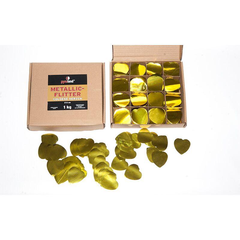 Metallic Flitter - Goldene Herzen 1kg (Pappschachtel) Für professionelle Konfetti-Kanonen im In- und Outdoorbereich. Eignet sich hervorragend zur Dekoration und kann bei Feierlichkeiten auch sehr gut geworfen werden. Mit aufregendem Metallic-Effekt. Schwer entflammbar gem. DIN 4102-1/B1 Zertifikat: B1 Größe: Ø50mm Inhalt: 1 Kg Verpackung: Pappschachtel Material: Metallic-Folie