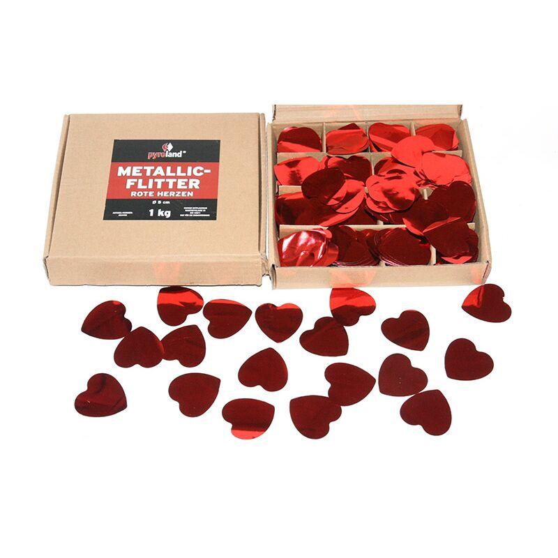 Metallic Flitter - Rote Herzen 1kg (Pappschachtel)