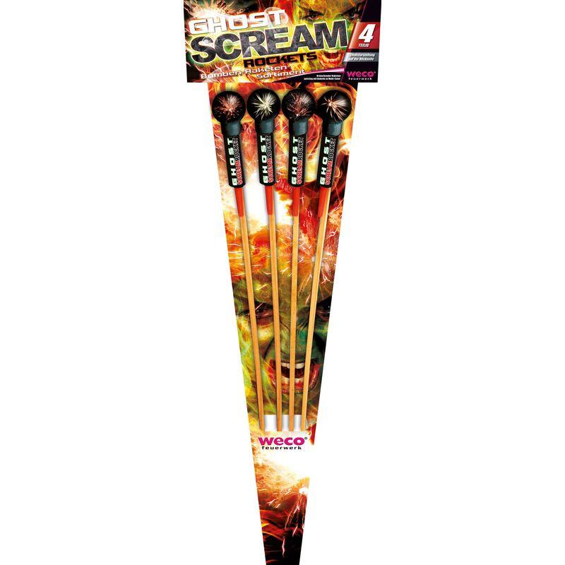Ghost Scream Rockets 4-teiliges Feuerwerk-Raketensortiment Kugel-Raketen mit kreischendem Aufstieg und Buketts in Multi-Color.