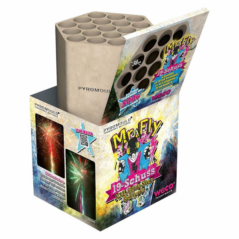Mr. Fly - 19-Schuss-Feuerwerk-Batterie Farbintensive Blinkbuketts in Grün und Gold kombiniert mit roten, grünen und violetten Kometen inklusive Knattereffekt.