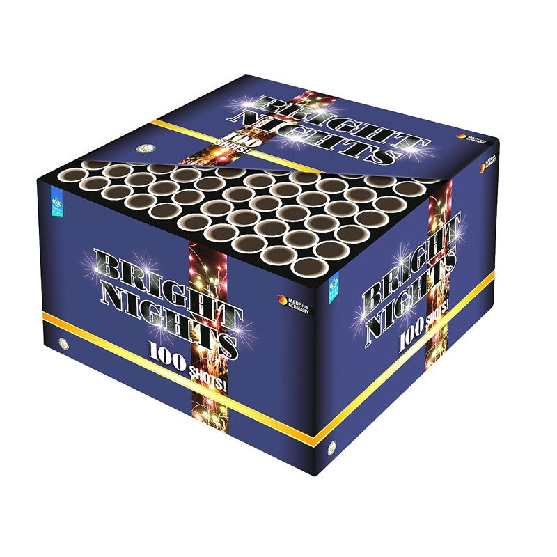 Bright Nights 100-Schuss-Feuerwerks-Batterie So hell gab es noch keine Crossettes in Konsumenten-Feuerwerk! 100 Schuss Displaybox mit 4 verschiedene Farben Crossettes. Brilliant!