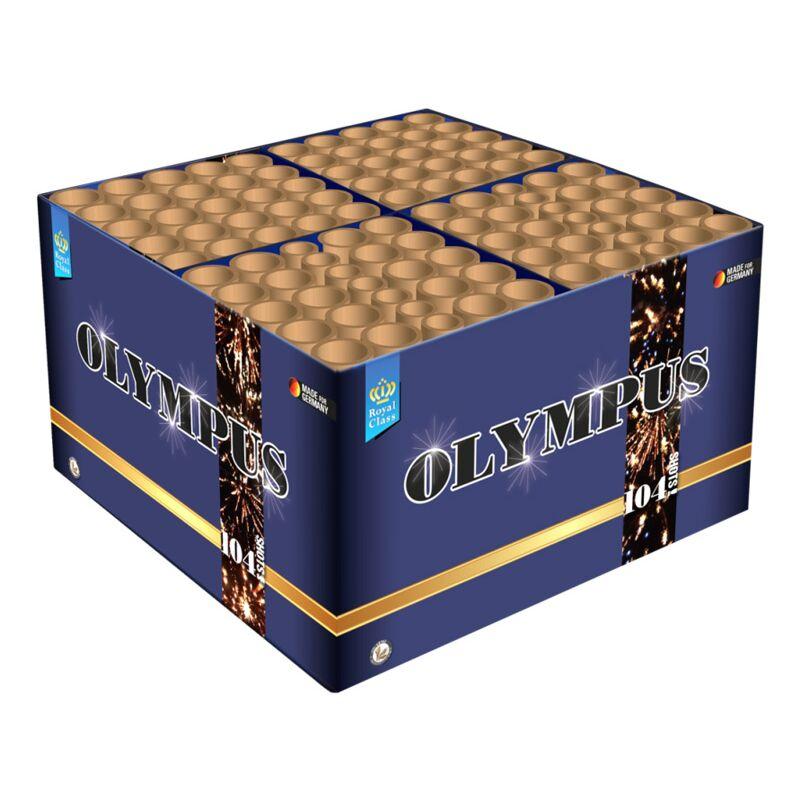 Olympus 104-Schuss-Feuerwerk-Batterie (Stahlkäfig) Blitzknall-Displaybox mit 104Schüssen von großem Kaliber! Gold, Gold und Gold! Im Stahlkäfig!
