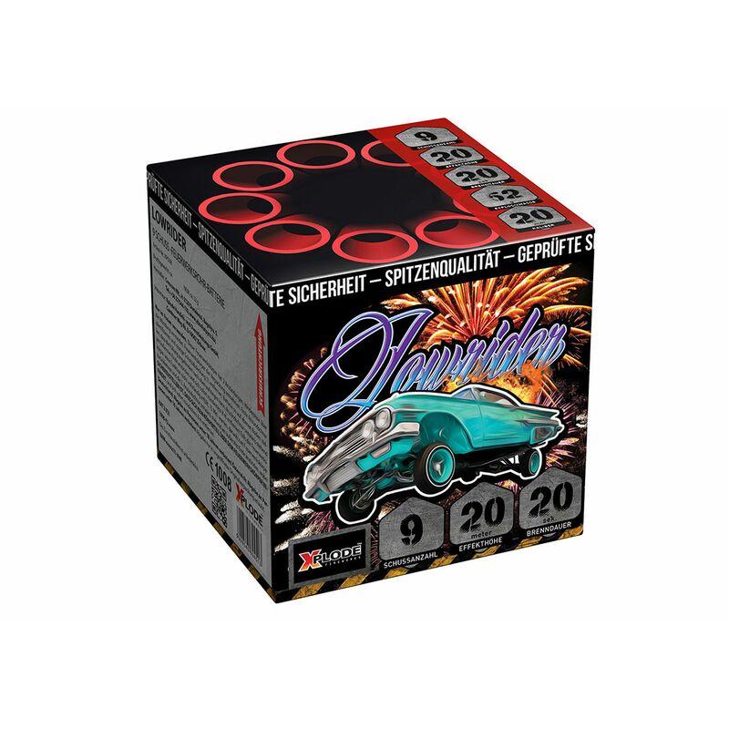 Lowrider 9-Schuss-Feuerwerk-Batterie Goldene Brokatkronen mit gr�nen Blinksternen.