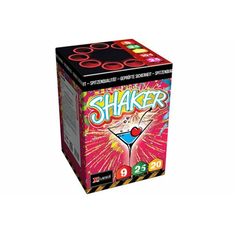 Shaker 9-Schuss-Feuerwerk-Batterie Goldener Aufstieg zu Goldregen mit blauen Sternen.
