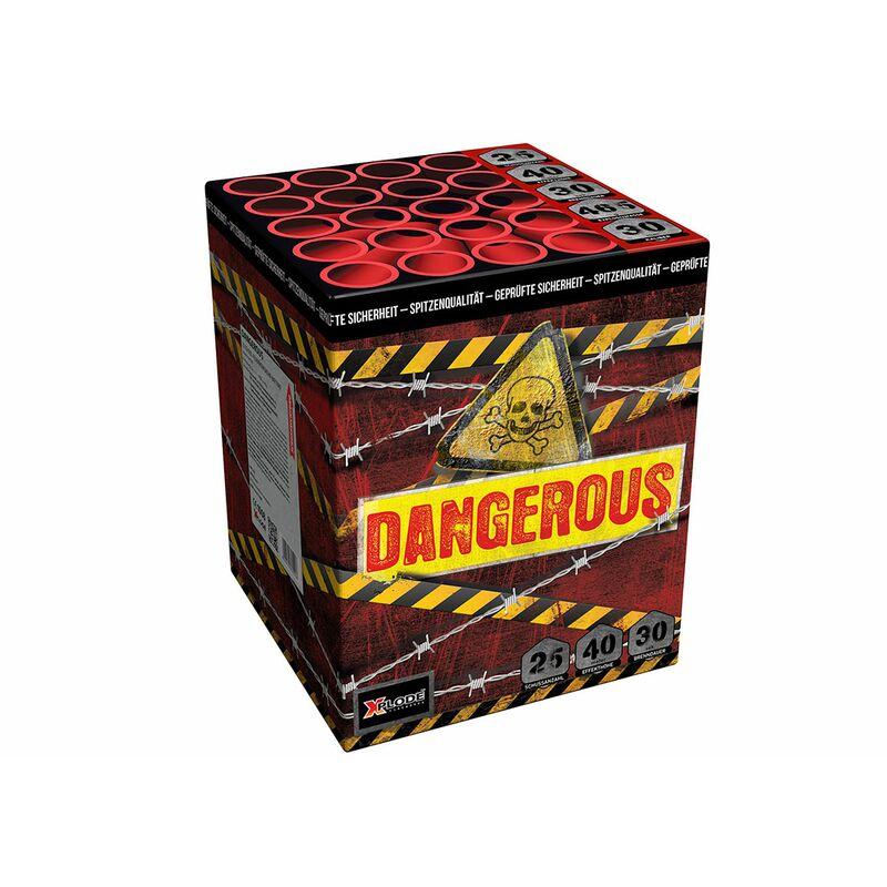 Dangerous 25-Schuss-Feuerwerk-Batterie Roter Aufstieg zu roten, grünen und weißen Blinksternen, jeder Schuss mit wuchtigem Knall.