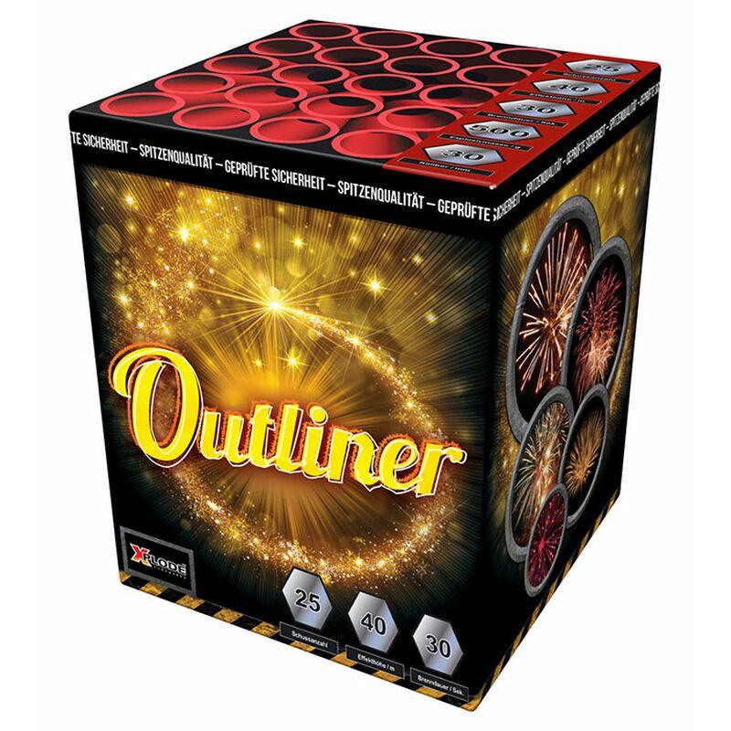Outliner 25 Schuss-Feuerwerk-Batterie Goldener Feuertopf zu golden Willow mit weißen Blinksternen.