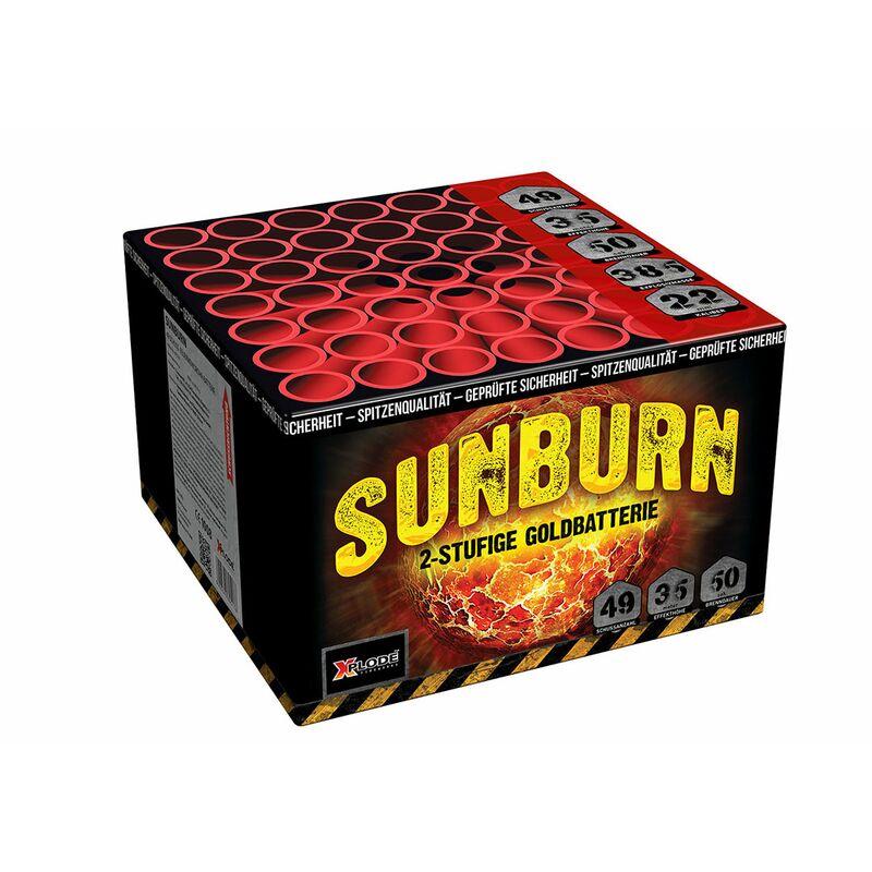Sunburn 49-Schuss-Feuerwerk-Batterie Rote, grüne, blaue und goldene Buketts - 7-Schlag Finale.