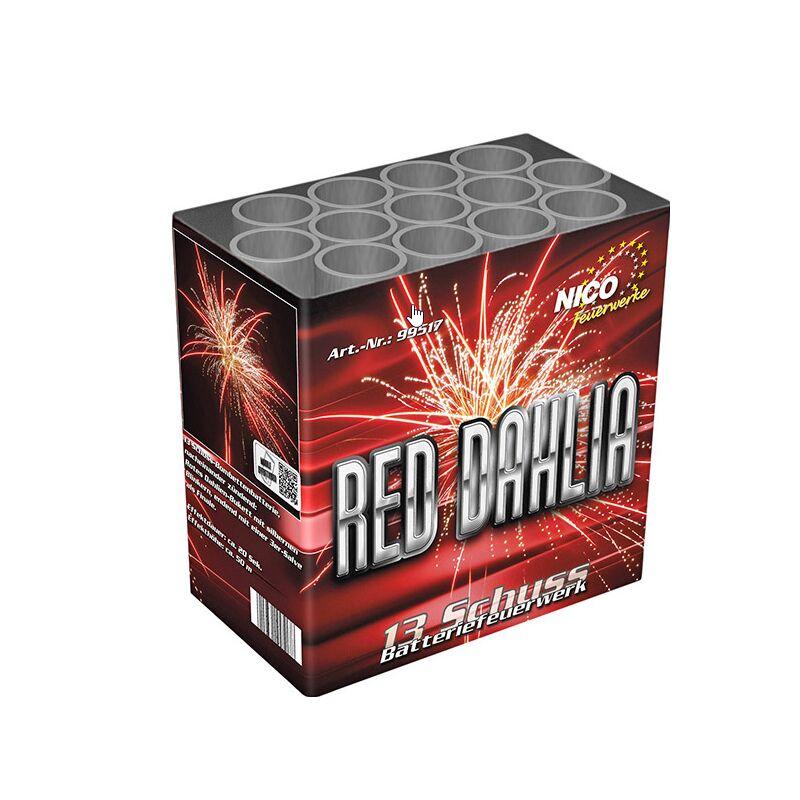 Red Dahlia 13-Schuss-Feuerwerk-Batterie Mit rotem Dahlien-Bukett mit silbernen Blinkersternen, endend mit einer 3er-Final-Salve.