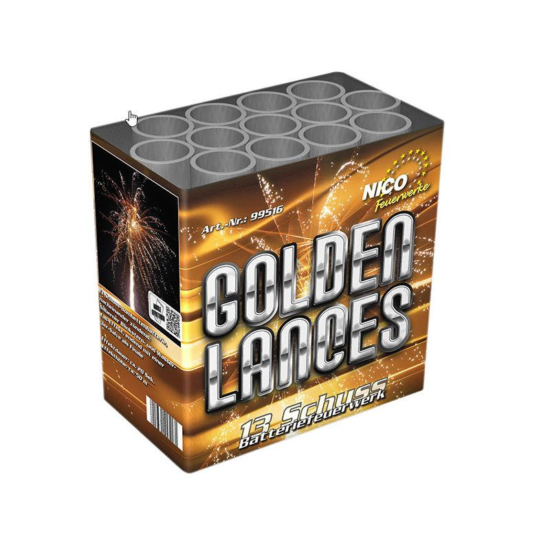 Golden Lances 13-Schuss-Feuerwerk-Batterie Mit silbernerem Binkstern- und Wasserfall-Effekten, endend mit einer 3er-Final-Salve.