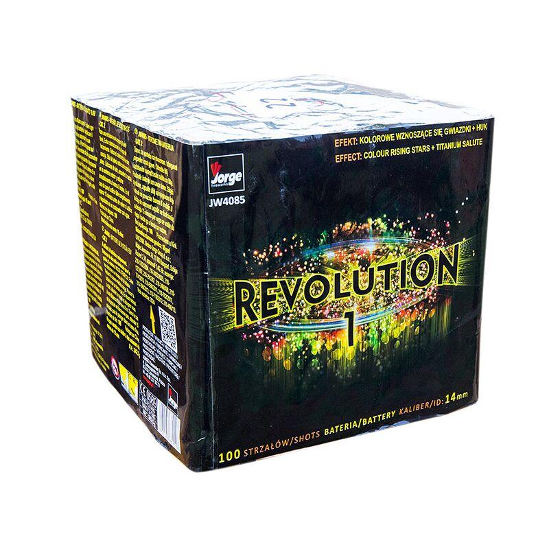 Revolution 1 100-Schuss-Feuerwerk-Batterie Farbige Kometen zu Salute in schneller Schussfolge.