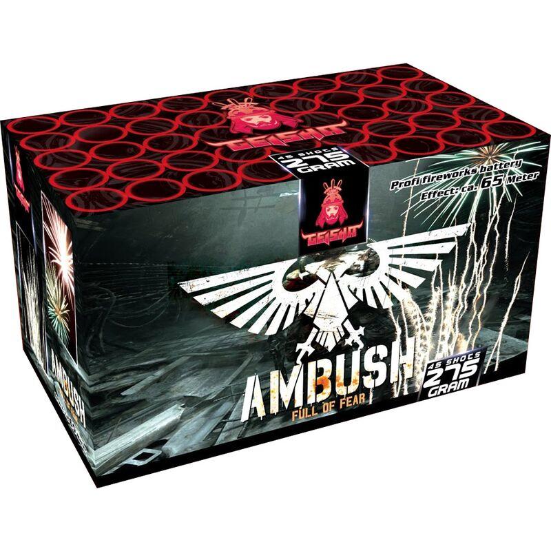Ambush 45-Schuss-Feuerwerk-Batterie Kr�ftige Heuler und laut zerlegende Blinkbuketts.
